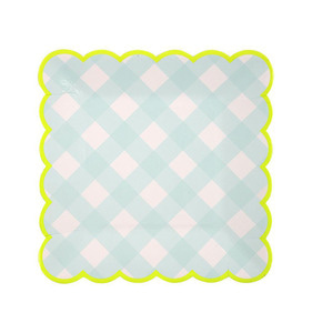 [Meri Meri] Blue Gingham Plates Small