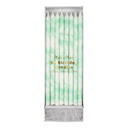 [MeriMeri] Mint Marbled Candles(24ea)